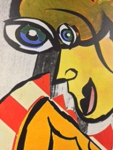 Picasso-type Bashioum painting close-up before
